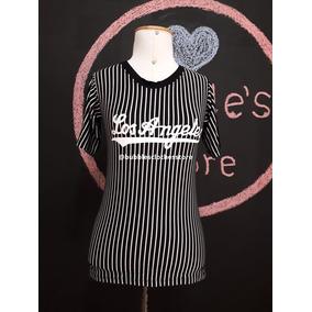 Tshirt Blusa Camiseta Feminina Listrada Escrito Los Angeles. 3 cores ad15caa4ad2