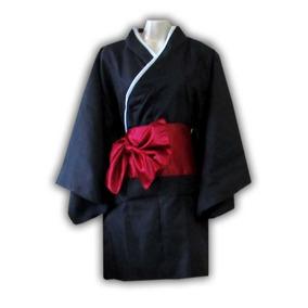 Kimono Corto Negro Japón Yukata Talla S/m