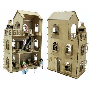 Casa Casinha Brinquedo + Kit Móveis + Churrasqueira Mdf B