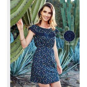 7a6042dac Vestido Flores Azul Marino Con Olanes Campesino Encaje