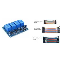 1 Unidades Módulo De Relé 4 Canais Para Arduino + Jumper