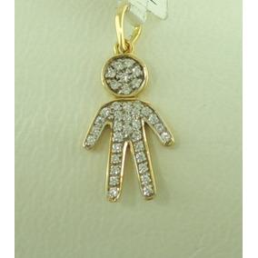 b494301b69dc2 Pingente Menino Desenho Detalhes Zirconia Em Ouro 18k 750