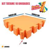 Kit 10 Tatames Eva Tapetinho Laranja 50x50x01 Cm