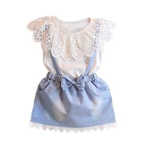 Vestido Para Niña Niñas Cuello Babero Imitación Mezclilla