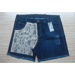 Shorts Jeans Feminino Plus Size Com Renda Promoção 1968