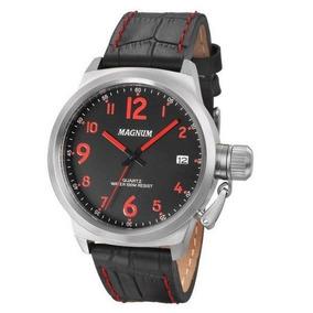 Relógio Magnum Ma33442v Calendario Pulseira Couro