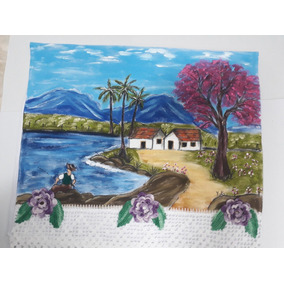Pano De Prato Crochê Pintado A Mão Artesanal C  Paisagens e13d8f78283