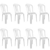 Kit Com 8 Cadeiras Bistrô Plástico Suporta Até 182 Kg Branca