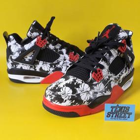 new product 4e693 f3687 Tênis Nike Air Jordan 4 - Tattoo - Preto   Branco   Vermelho
