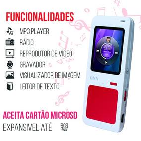 Mp4 Player Onn Q7 4gb Interno Rádio Fm Gravador Expande 8gb