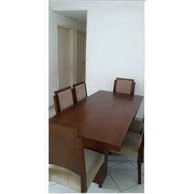 Mesa De Jantar De Madeira Com 6 Cadeiras