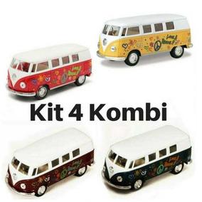 Kit 4 Carrinho De Coleção Nacional Wolkswagen Kombi 1962