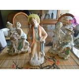 Figuras De Porcelana Chinas Pintadas A Mano , De Loa Años 50