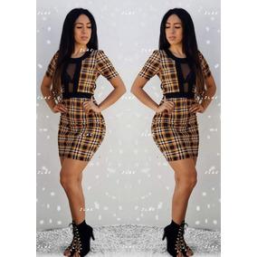 Vestido Mostaza Cuadros Manga Corta Transparenc Envío Gratis
