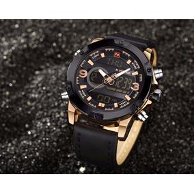 Relógio Naviforce Masculino Couro Dourado Com Preto