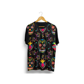 dc77863449 Camisa Camiseta Caveira Mexicana Sorry Floral Manga Curta