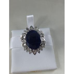 Anel Lady Vintage Ouro Branco Safira Azul E Brilhantes Extra