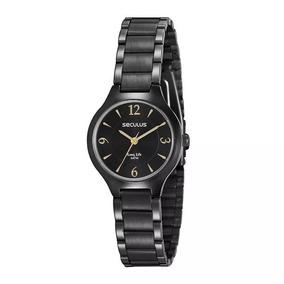 Relógio Seculus Feminino Ref: 77017lpsvpa2 Social Black
