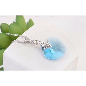 Collar Crystallized Para Dama Piedra Color Aqua Certificado
