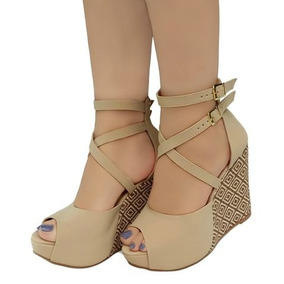 56edf360fd Sandalia Salto Anabela Alto Bege - Sapatos em Bahia no Mercado Livre ...