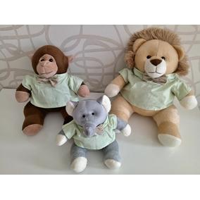 024172e24 Kit Trio Bichos Pelucia Safári Nicho Leão Macaco Elefante
