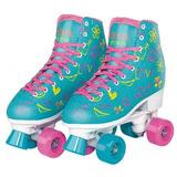 Patins 4 Rodas Clássico Azul Rosa Menina Roller Skate 34/39
