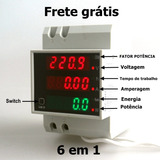 Medidor De Energia Kwh Watimetro Voltimetro Amperimetro Fpt