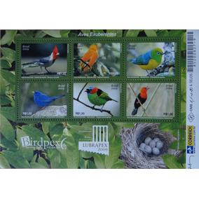 Bloco Com 6 Selos Novos Aves Exuberantes Brasil 2009
