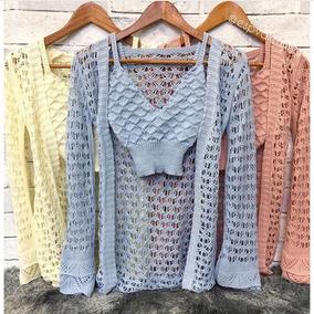 Colete Trico Croche Kimono +1 Cropped Lindo Conjunto Praia