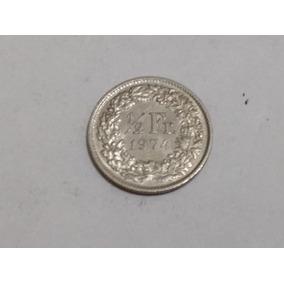 Moneda Suiza 1/2 Franco 1974 Como Nueva