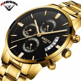 Relógio Nibosi Original Dourado A Prova D