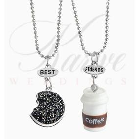 Collar Amigos Best Friends Pareja Cafe Y Galleta