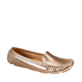 Zapato Mocasines Casual Shosh 121253 Dorado Mujer Confort