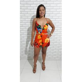 Kit 5 Macaquinho Conjunto Feminino Viscose Moda Croped Short