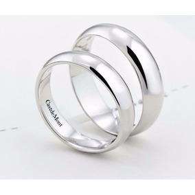 Argollas De Matrimonio 4mm Par! Anillos Boda Liso Blanco 10k