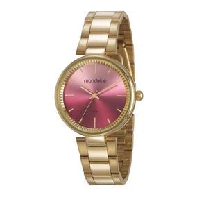 bf9f16ec98c Relogio Feminino Com Fundo Rosa Mondaine - Relógios De Pulso no ...