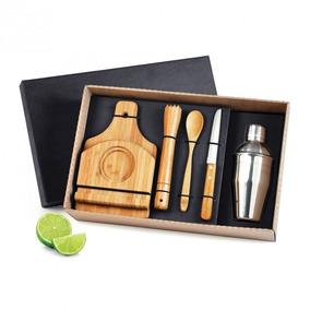 Kit Para Caipirinha E Coqueteleira - 6 Peças. Lindo Em Bambu