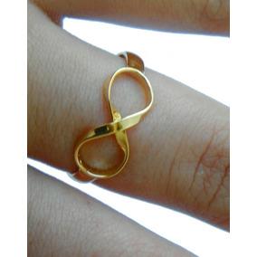 ecba7c5561562 Anel Feminino Simbolo Do Infinito Prata 925 E Ouro 14k - Anéis com o ...
