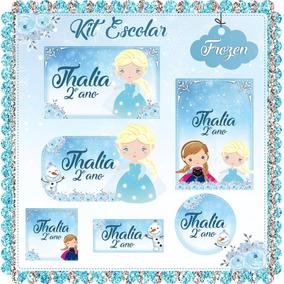 Arquivo De Corte Etiqueta Escolar Frozen + 49 Temas