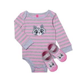 Body Bebê Menina Texugo + Meia Sapatilha Puket 0 A 12 Meses 79ff3874113