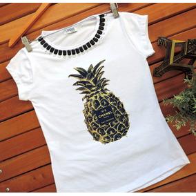 Camiseta Feminina T-shirt Feminina Blusa Abacaxi Verão 2019