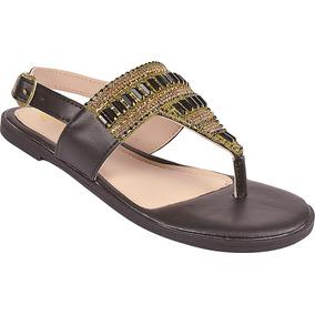 9809272d4 Sandália De Salto Com Pedrarias Rasteiras - Sapatos no Mercado Livre ...