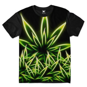 bf1efea91 Camiseta Folha Erva Natural Verde Cannabis Arte Hd Degradê