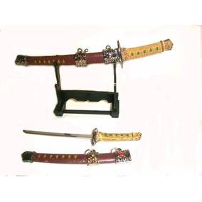 Espadas Mine Katana Suporte Com Duas Carta Samurai