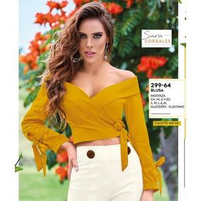 Blusa Casual Para Dama Color Mostaza 299-64 Cklass 1-19