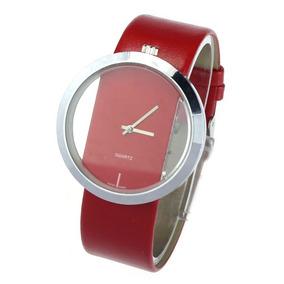 Relógio De Pulso Transparente Com Pulseira De Couro Vermelho