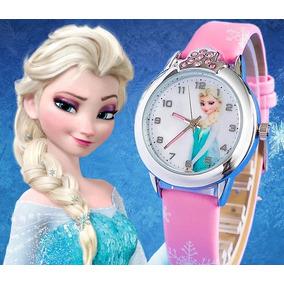 Relógio Infantil Elsa Frozen Disney Rosa Pedrinhas Strass