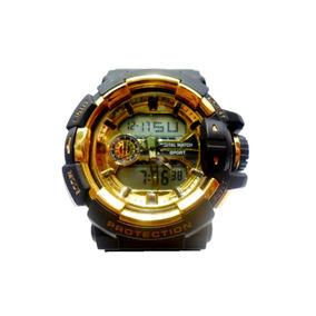 Relógio Masculino Esporte Militar Dourado Anti/shock/g Luxo