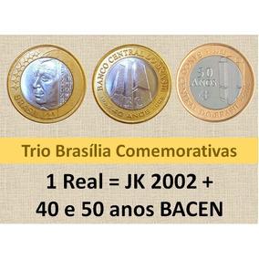 Lote 1001-trio Moedas Comemorativas- Jk- 40 E 50 Anos Bc.
