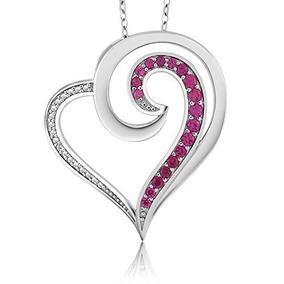 Collar De Plata Esterlina 925 Creado Con Diamantes De Rubies
